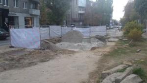 На улице Олеся Гончара тепловики проводят аварийно-восстановительные работы на теплотрассе