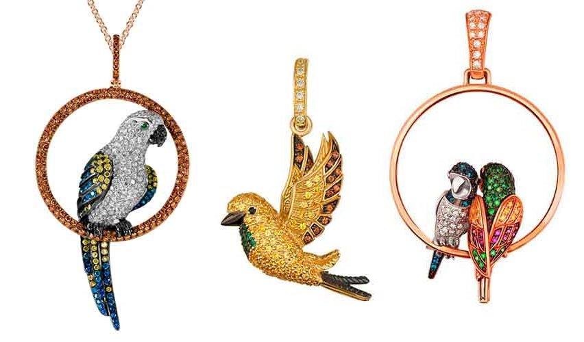 Золотой кулон попугаи